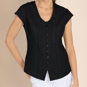 Soft Surroundings Taos Black Embroidered Top Sz XL